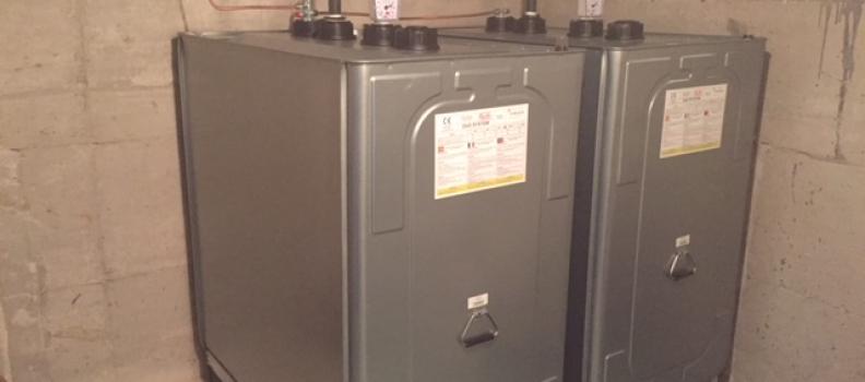 Découpe d'une cuve fioul PVC de 2500l et installation de 2 cuves de 1000l sur Riedisheim: le 06.11.18