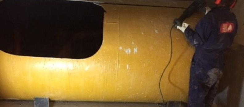 Nettoyage, dégazage et découpe cuve fioul 5000l cylindrique sur Horbourg-Wihr: le 05.12.18