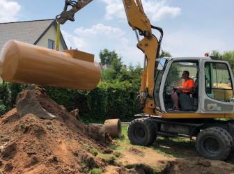 Excavation cuve fioul enterrée et installation cuve enterrée de 4000L sur Dingsheim: le 06.06.18