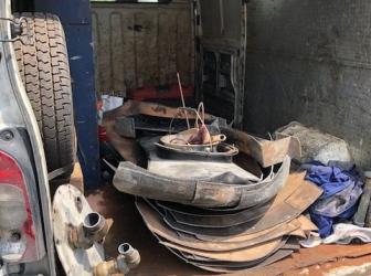 Chantiers du 03.06.19: enlèvement cuve PVC et découpe cuve acier